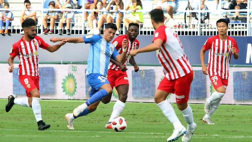 Chema y Eteki en el partido de Copa.