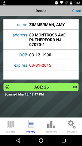 Bar & Club Stats - ID Scanner Screenshot