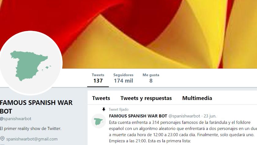 Captura de pantalla de la cabecera de la cuenta de Twitter Famous Spanish War Bot.