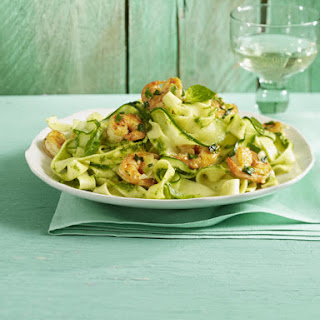 "Zucchini ""Pasta"" with Pesto and Prawns"