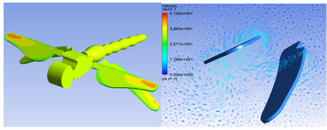 Полученное в расчёте распределение напряжений по поверхности стрекозы и воздушные вихри у крыльев