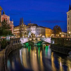 A Night in Ljubljana by Rashid Ramdan - Buildings & Architecture Public & Historical ( canon, slovenia, ljubljana, night, travel, cityscape, city, city at night, street at night, park at night, nightlife, night life, nighttime in the city )