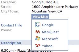 Facebook map selector