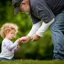 by Mike DeMicco - People Family ( warm, grass, grandpa, innocent, beautiful, little )