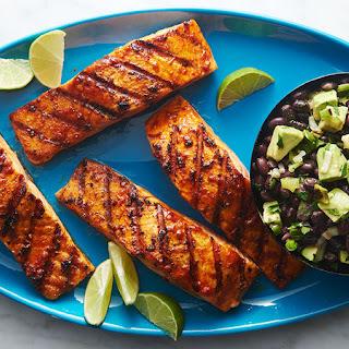Mexican Salmon with Black Bean and Avocado Salsa.