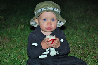 Photo: Wesley taking the time to stop and taste the apples from the tree in the barnyard.