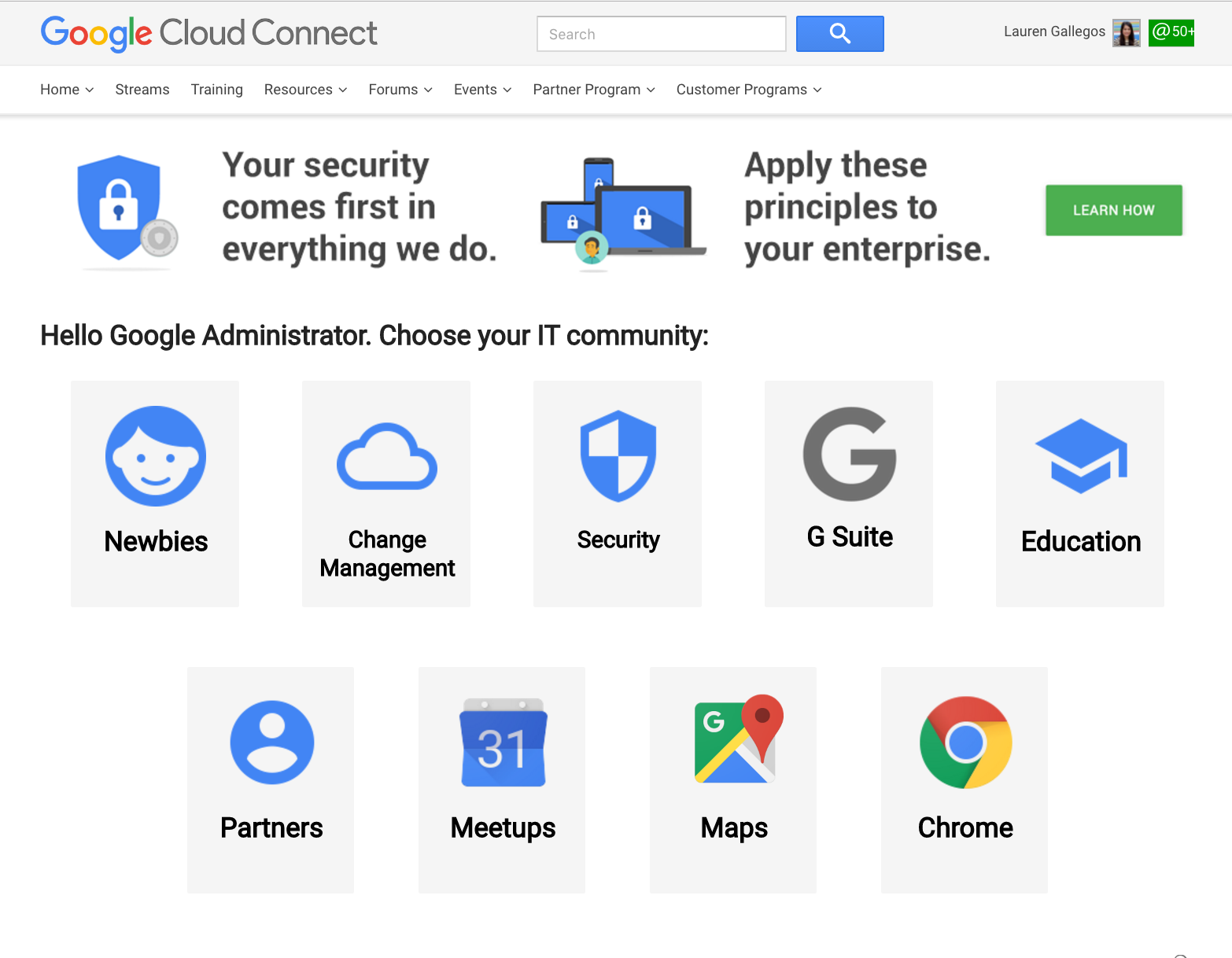 Google Cloud Connect home page