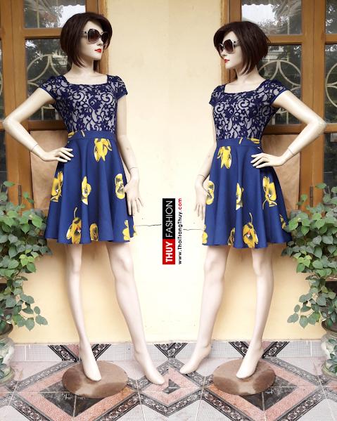 Váy xoè liền phối ren và vải đũi hoạ tiết hoa V310 thời trang thuỷ
