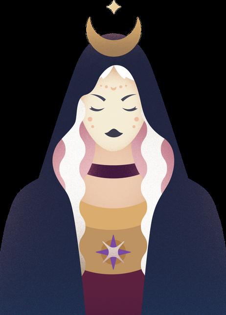 Moonly App logo - Blonde woman