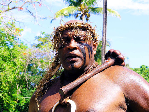 Fiji-warrior-1 - A Fiji warrior in traditional garb.