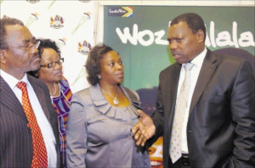 GOOD INTENTIONS: KwaZulu-Natal premier Zweli Mkhize, right, with transport, community and liaison MEC Willies Mchunu, arts, sport and culture MEC Weziwe Thusi and cooperative governance MEC Numusa Dube at a meeting at the provincial legislature. PHOTO: SIYABONGA MOSUNKUTU. 27/02/2010. © Sowetan.