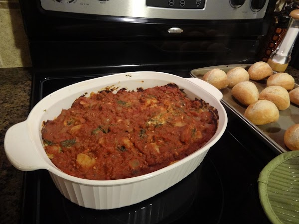 Spray baking dish with cooking spray.  Layer 1/2 pasta, 1/2 spinach mixture and...