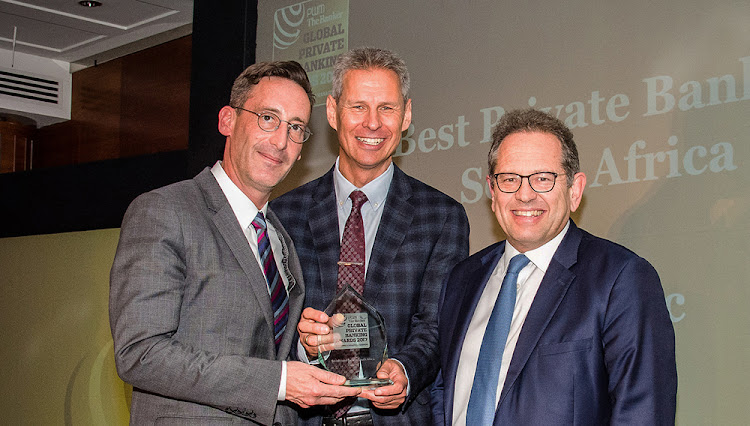 Deon Katz, head of Investec Private Bank SA; Yuri Bender, editor-in-chief of the Financial Times in the UK; and Henry Blumenthal, head of Investec Wealth & Investment South Africa. Picture: SUPPLIED