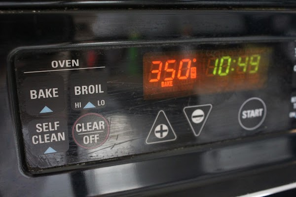 Oven preheating.