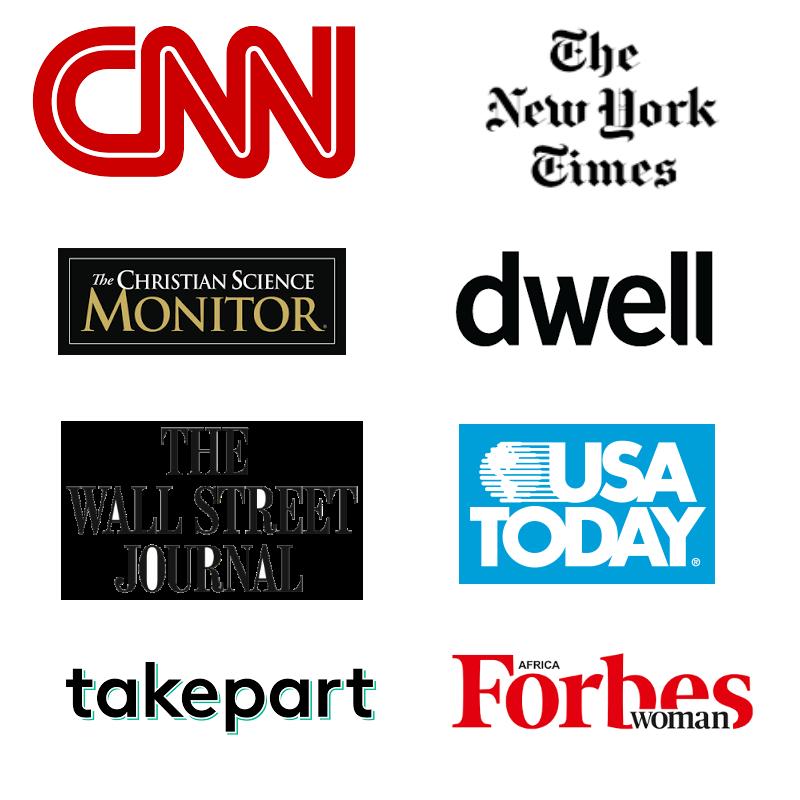 CNN, the New York Times, Dwell logos