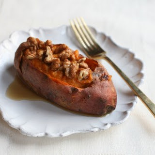 Stuffed Sweet Potatoes with Sweet and Spicy Walnuts