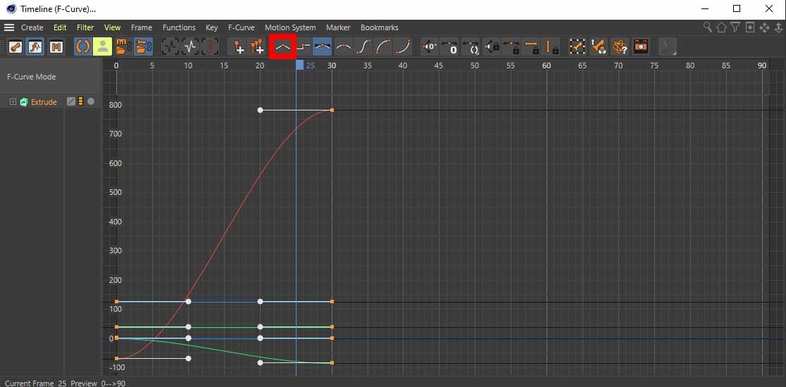 Curves Timline mode in Cinema 4D