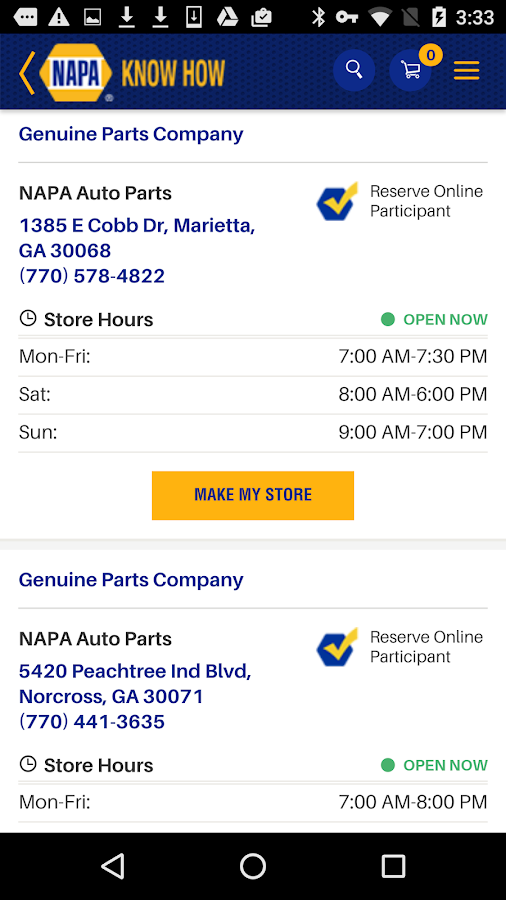 NAPA AUTO PARTS- screenshot
