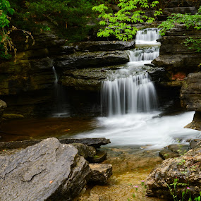 Lake Ann Lower Falls by John Roberts - Landscapes Waterscapes