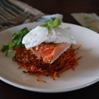 Sweet Potato Latkes with Salmon and Poached Eggs
