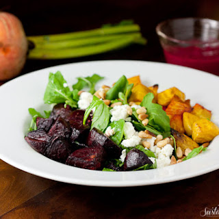 Roasted Beet Salad with Goat Cheese and Beet Basil Pesto Vinaigrette