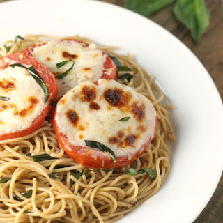 Spaghetti Aglio e Olio with Cheesy Broiled Tomatoes.