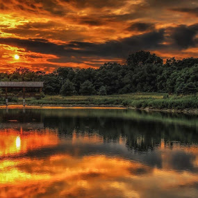 Bridges  by Casey Mitchell - Landscapes Cloud Formations ( clouds, sunset, reflected, lake, pond, sun,  )
