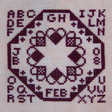 Photo: Completed 9 Feb 2008. Quaker Evens (2005) by The Workbasket stitched on Silkweaver's Peachy Keen 36ct Edinburgh linen. The stitching is in Bordeaux from Week's Dye Works. Stitch count: 61w x 61h.