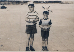 Photo: At the risk of him haunting me, I'll send one embarrassing old photo.  With brother Mike 1944