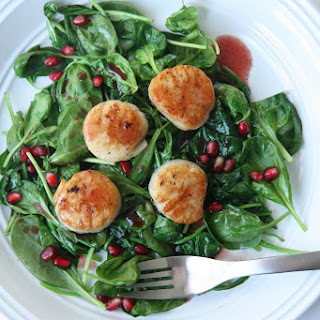 Scallops and Spinach with Pomegranate Glaze