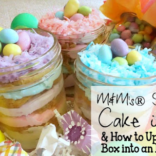 M&M's® Sugar Cookie Cake in a Jar & How to Upcycle a Diaper Box into an Easter Basket