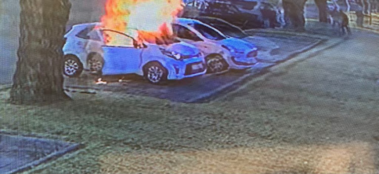 Pictures: Three in ICU after alleged boyfriend torches girlfriend's car outside pre-school