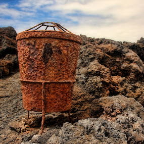 Rusty Trash Can by Axel K. Böttcher - Artistic Objects Still Life ( lava flows, trash can, lanzarote, shabby, rust )