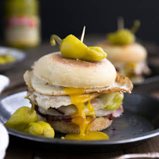 Easy Peperoncini, Provolone and Egg Breakfast Sandwich.