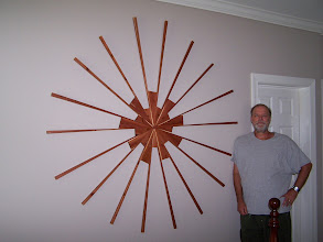 Photo: Another large Sunburst, constructed from Chatham county red cedar.  Suitable for indoor and outdoor spaces. Diameter: 60 inches.