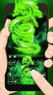 Green Neon Dragon Keyboard Theme - náhled