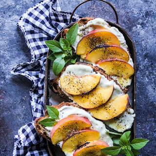Grilled Peach & Whipped Blue Cheese Toast.