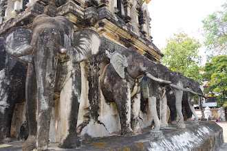 Photo: Elephants holding up the chedi