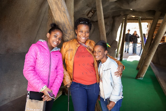 Christina and daughters at Adventure Landing