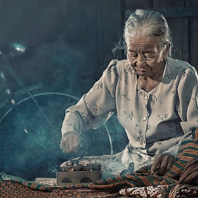 Ironing The Clothes.... by German Kartasasmita - People Portraits of Women ( senior citizen )