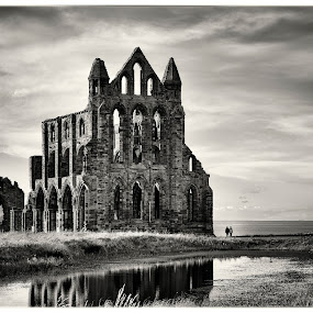 Whitby Abbey by Kate Russell - Black & White Buildings & Architecture ( sky, whitby, seascape, landscape, mono, abbey )