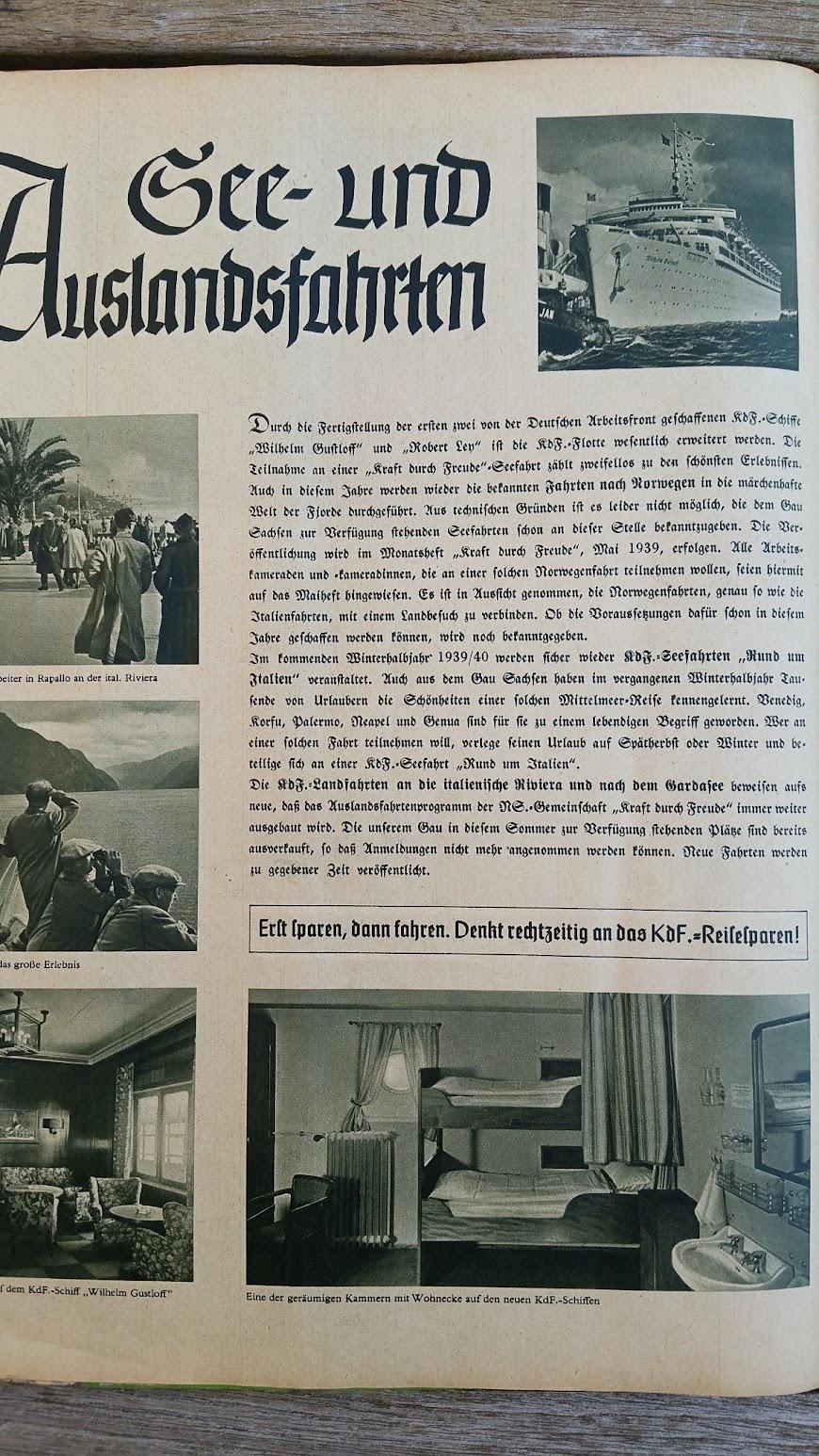"""Die Deutsche Arbeitsfront - Urlaubsfahrten 1939 - NS-Gemeinschaft """"Kraft durch Freude"""" Gau Sachsen - Katalog - See- und Auslandsfahrten"""