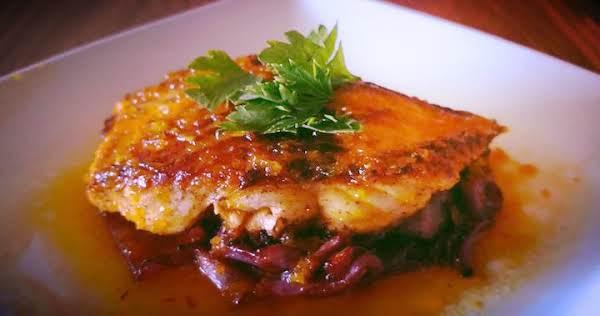 Trout With Orange-saffron Sauce & Purple Cabbage