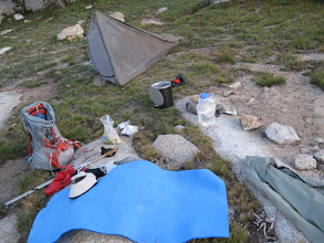 Photo: Drying out the tent in the morning.