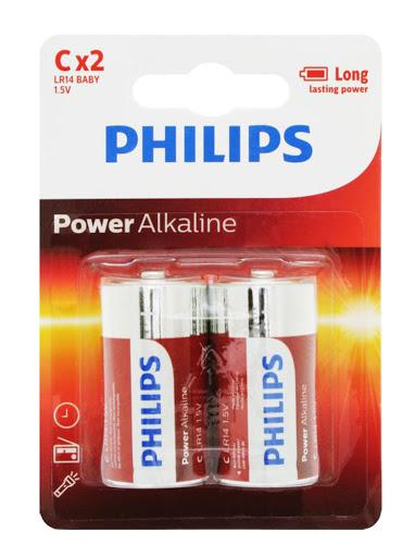 bateria philips power alkaline c 2und