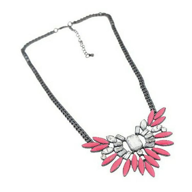 Women Elegant Black Rope Chain Pink Choker Chunky Necklace