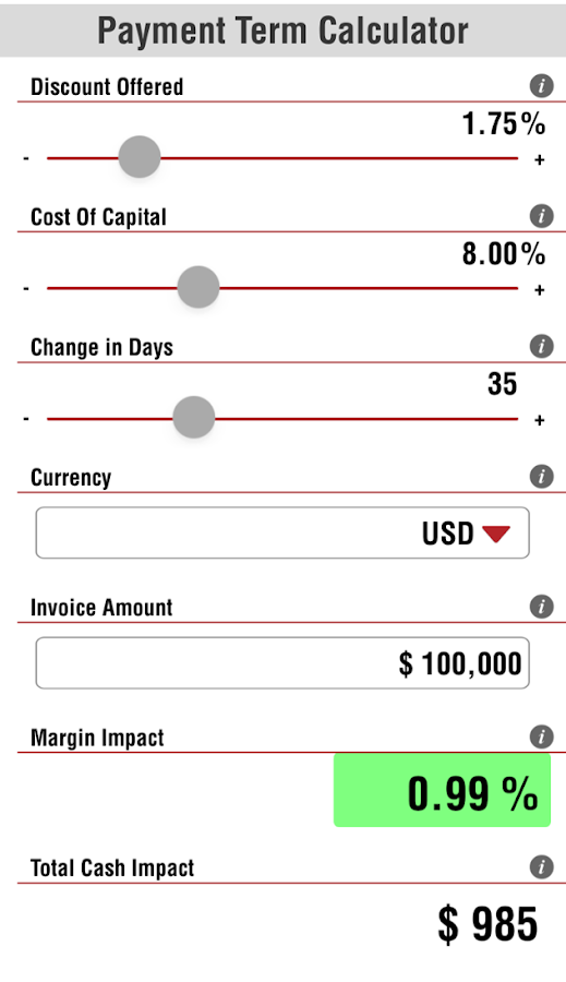 Early Payment Term Calculator- screenshot