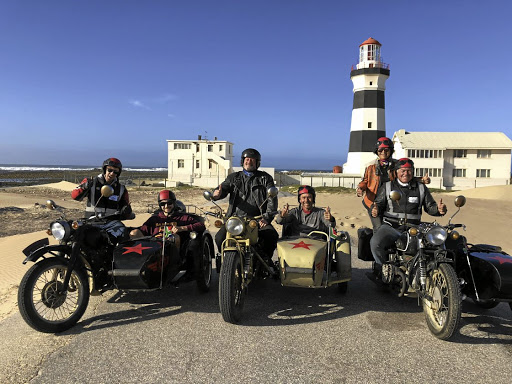 Bikers at the Cape Recife Lighthouse in PE.