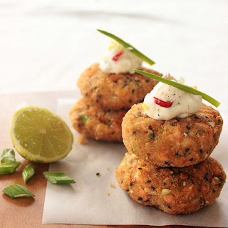 Salmon Cakes with Spicy Lime Yogurt Dip.