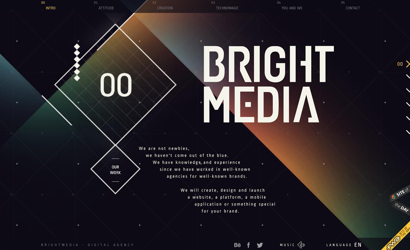 Bright Media landing page